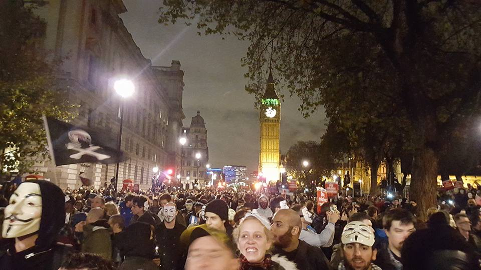Protesters on the march from parliament square