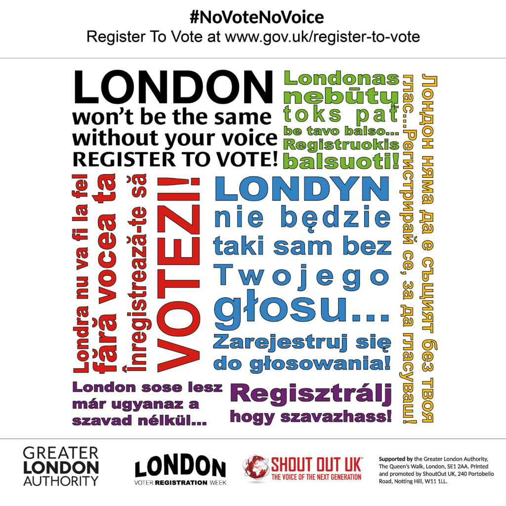 London Voter Registration Week 2020 with the Greater London Authority