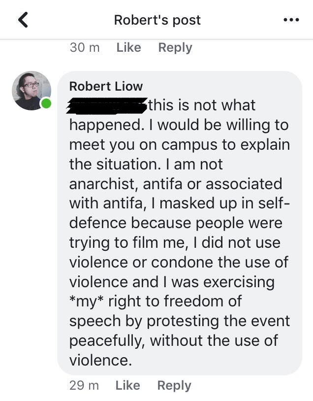 Robert Liow's response on Facebook about why he was covering his face and taking part in the protest.