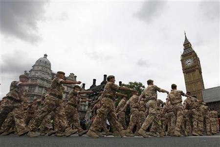 British Army soldiers from 11 Light Brigade march to Parliament in central London