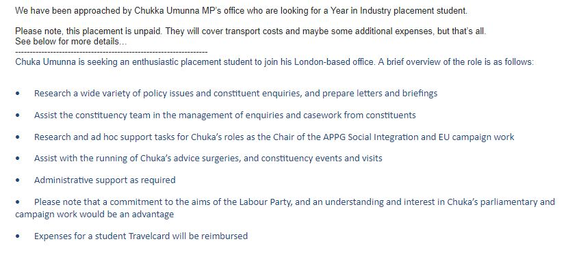 Screen shot of Job ad, which was sent to Politics students at the University of Leeds